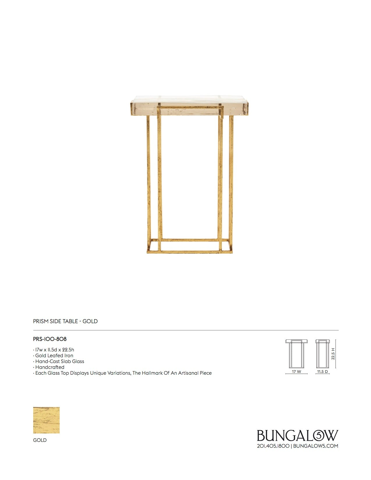 Bungalow 5 Prism Side Table Gold Tearsheet