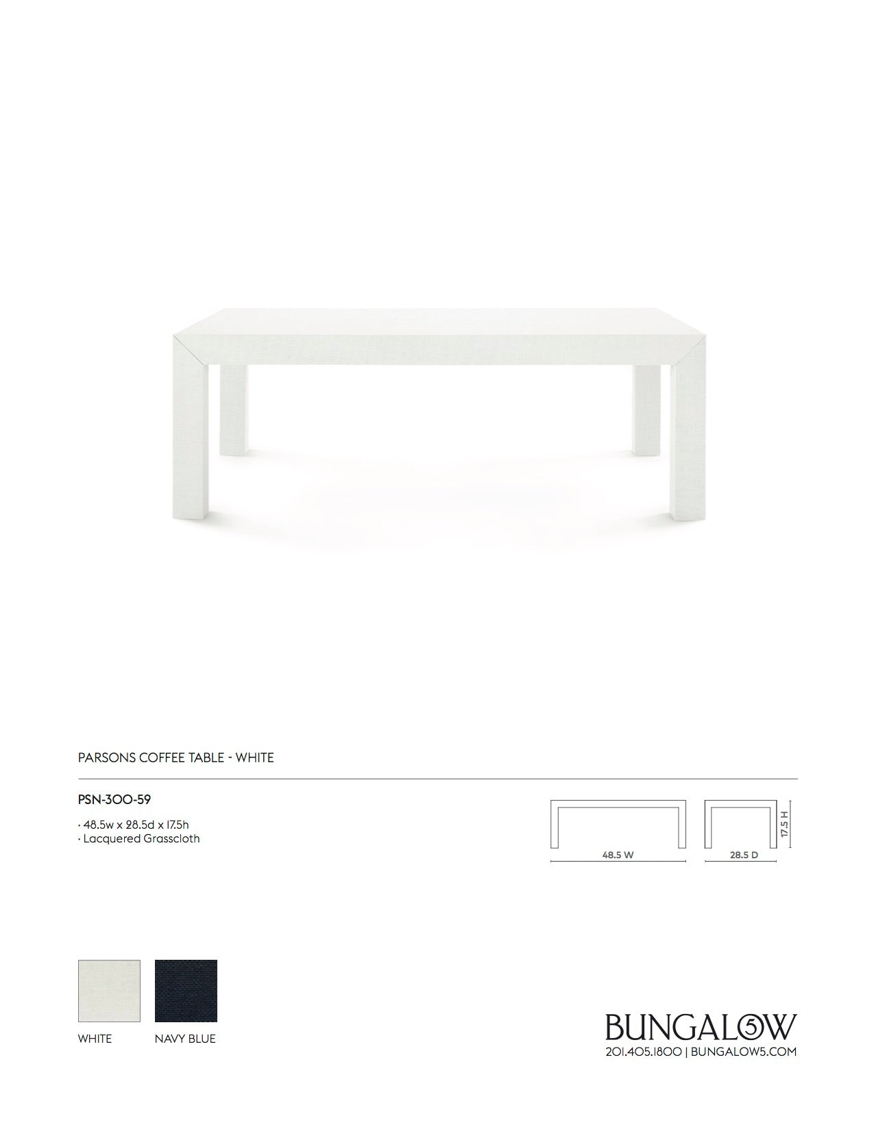 Bungalow 5 Parsons Coffee Table White Tearsheet