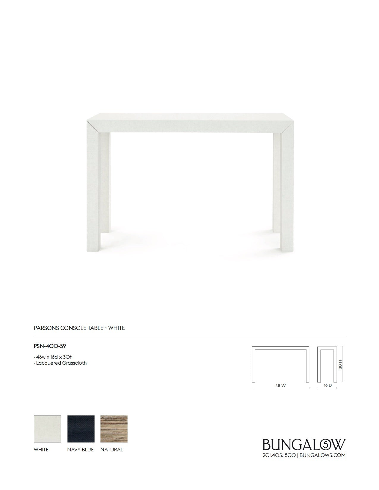 Bungalow 5 Parsons Console Table White Tearsheet
