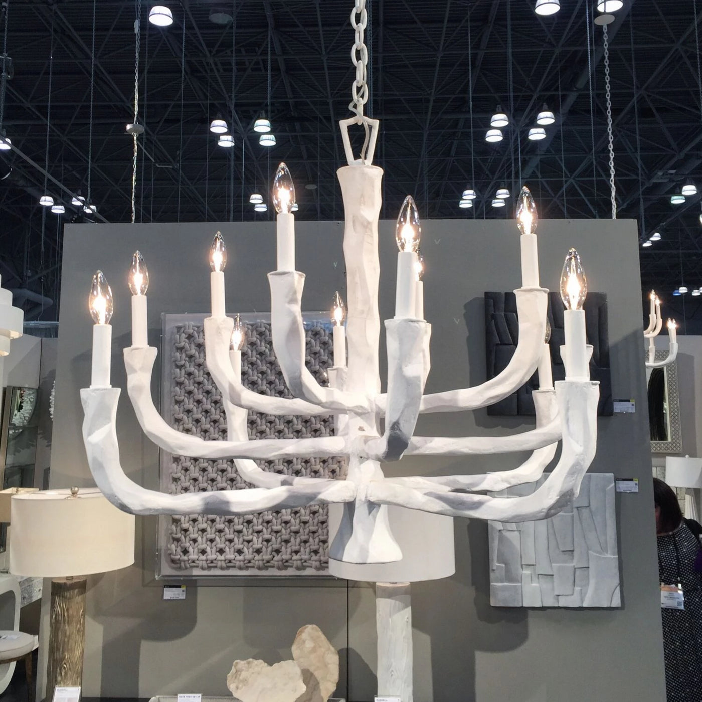 Fawn Chandelier White Concrete hanging gesso organic lighting