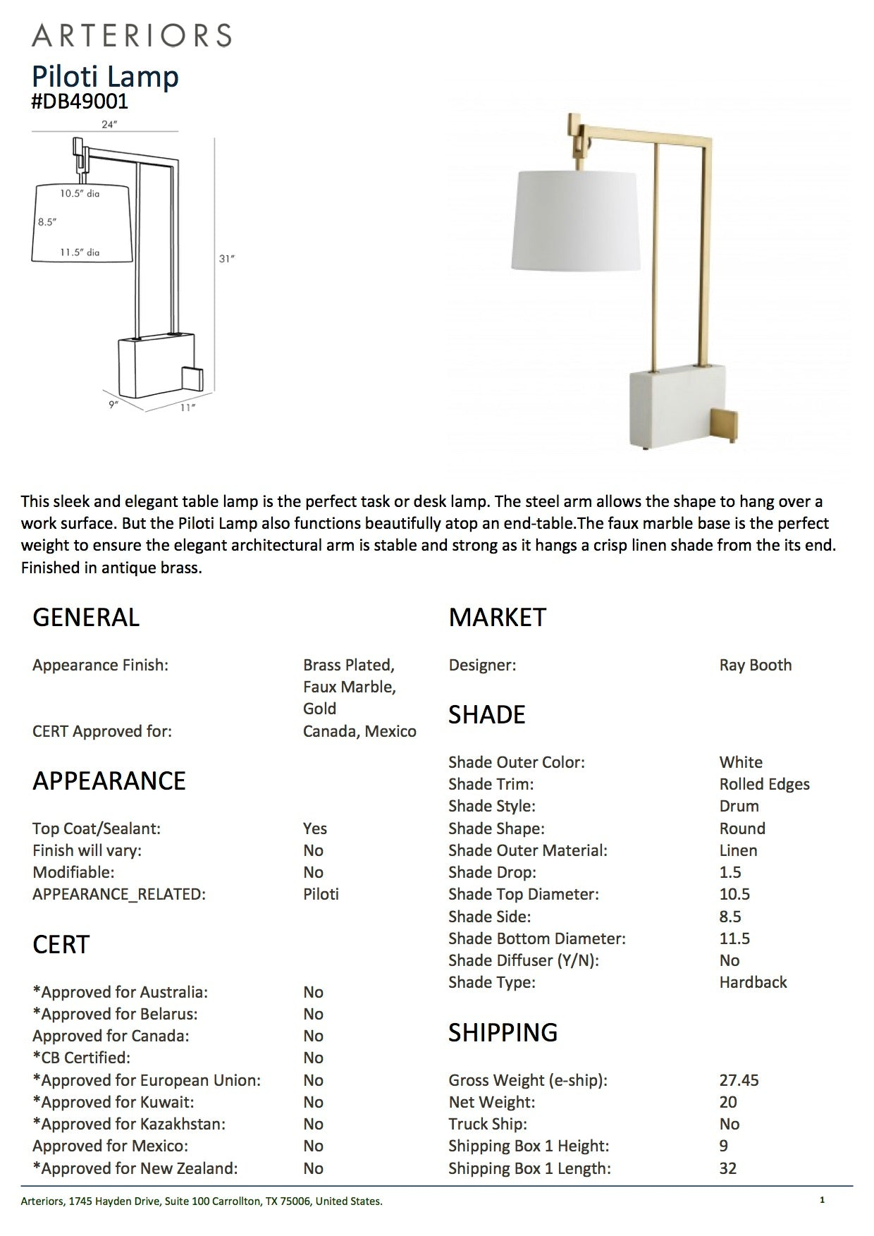 arteriors piloti lamp antique brass tearsheet