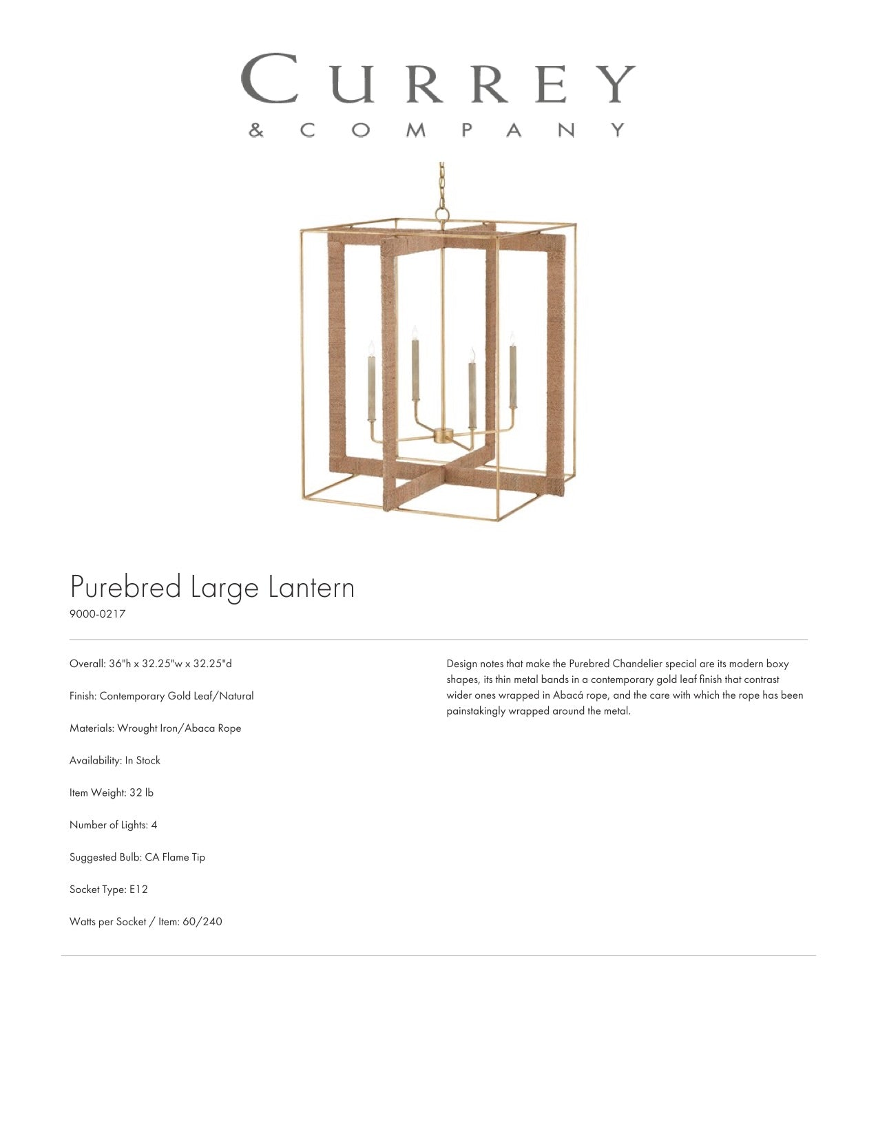 Currey & Company Purebred Chandelier Tearsheet