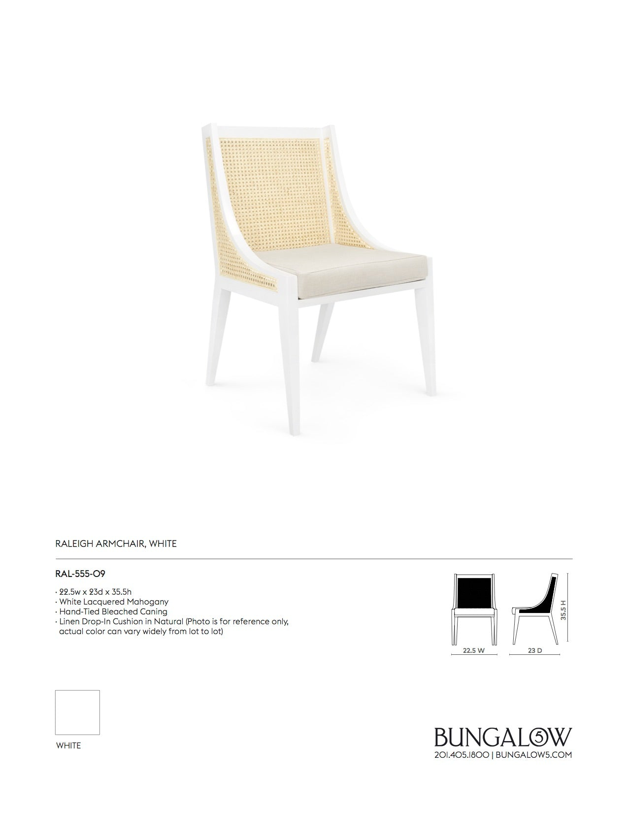 Bungalow 5 Raleigh Armchair White Tearsheet