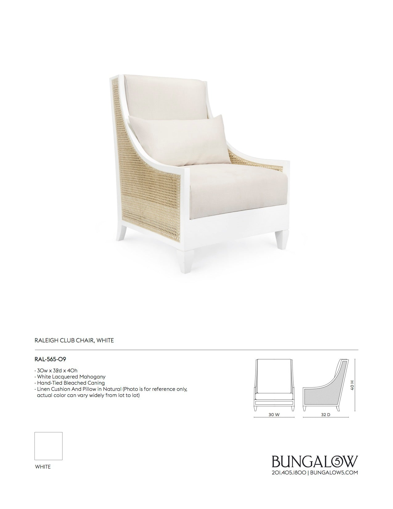 Bungalow 5 Raleigh Club Chair White Tearsheet