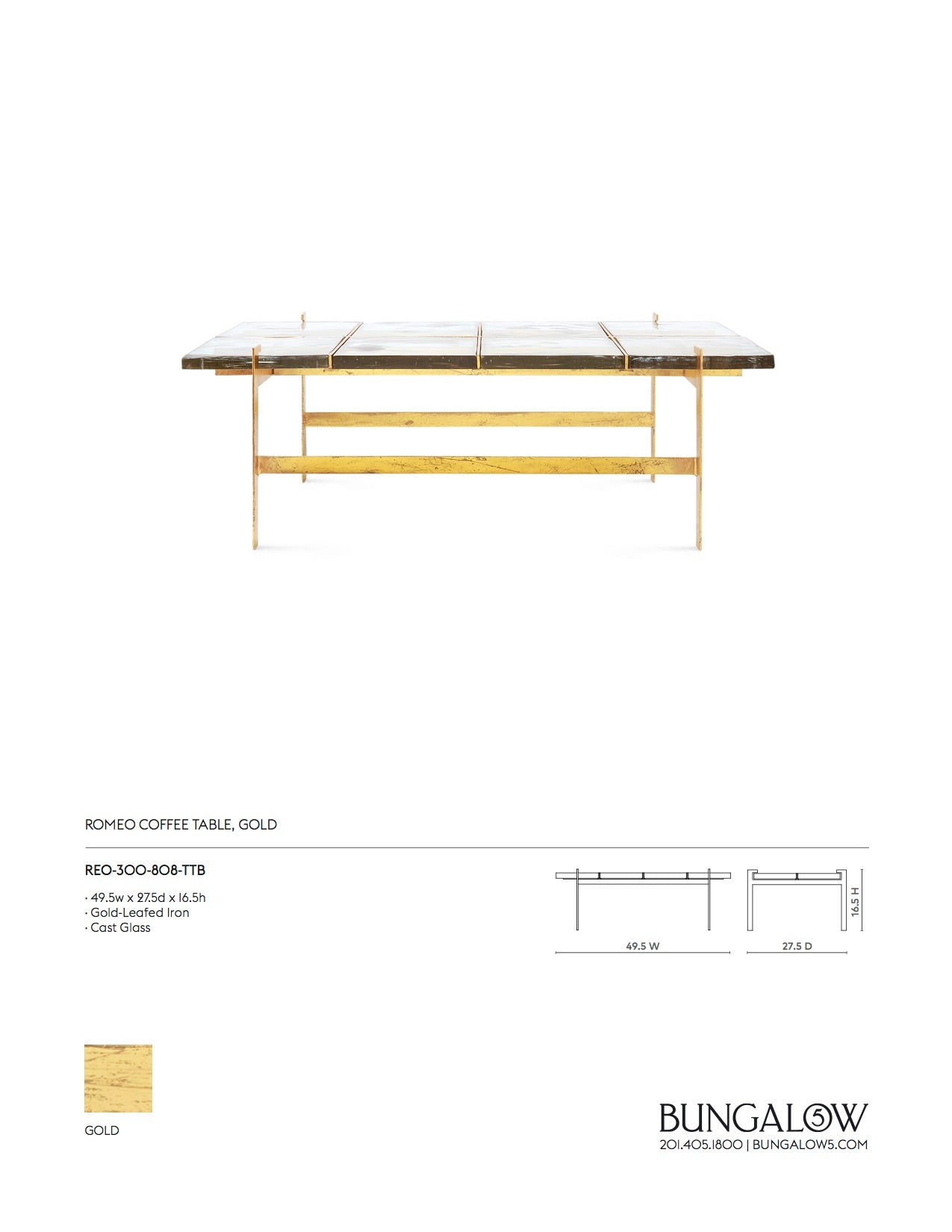 Bungalow 5 Romeo Coffee Table Gold Tearsheet