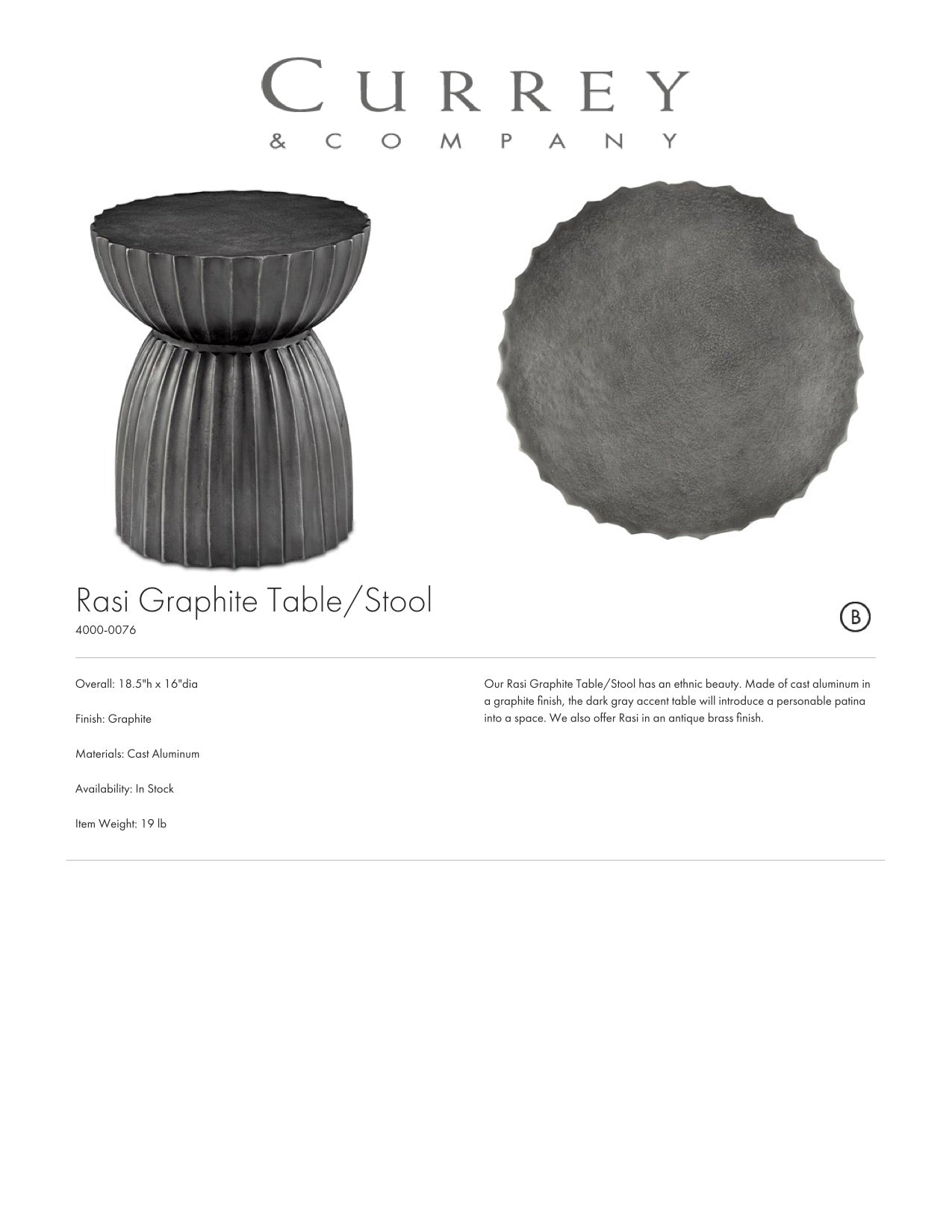 Currey & Company Rasi Graphite Table Tearsheet