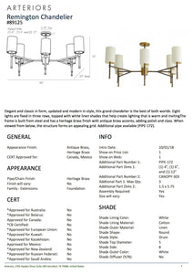 arteriors remington chandelier antique brass tearsheet