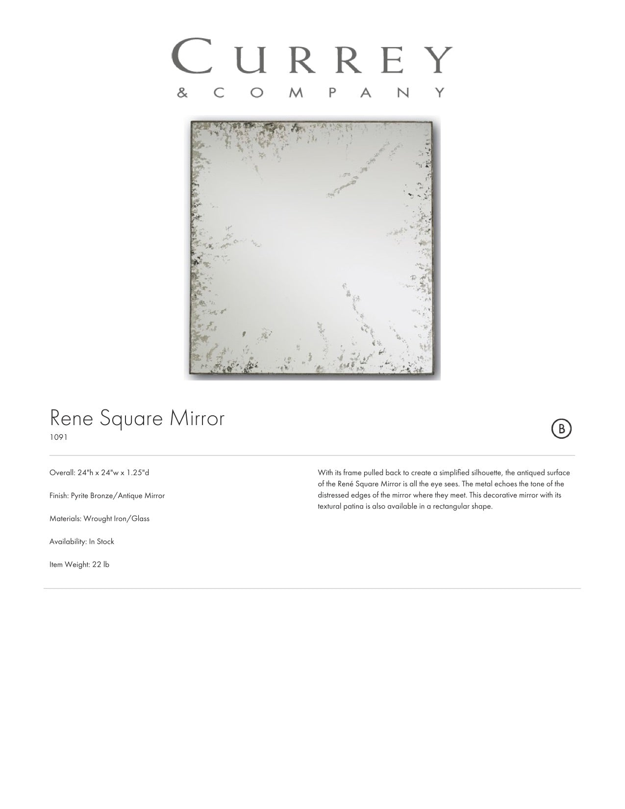 Currey & Company René Square Mirror Tearsheet