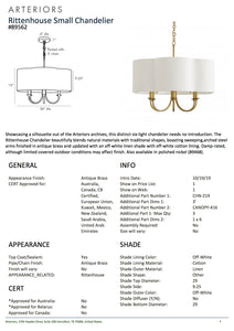 arteriors rittenhouse chandelier antique brass tearsheet