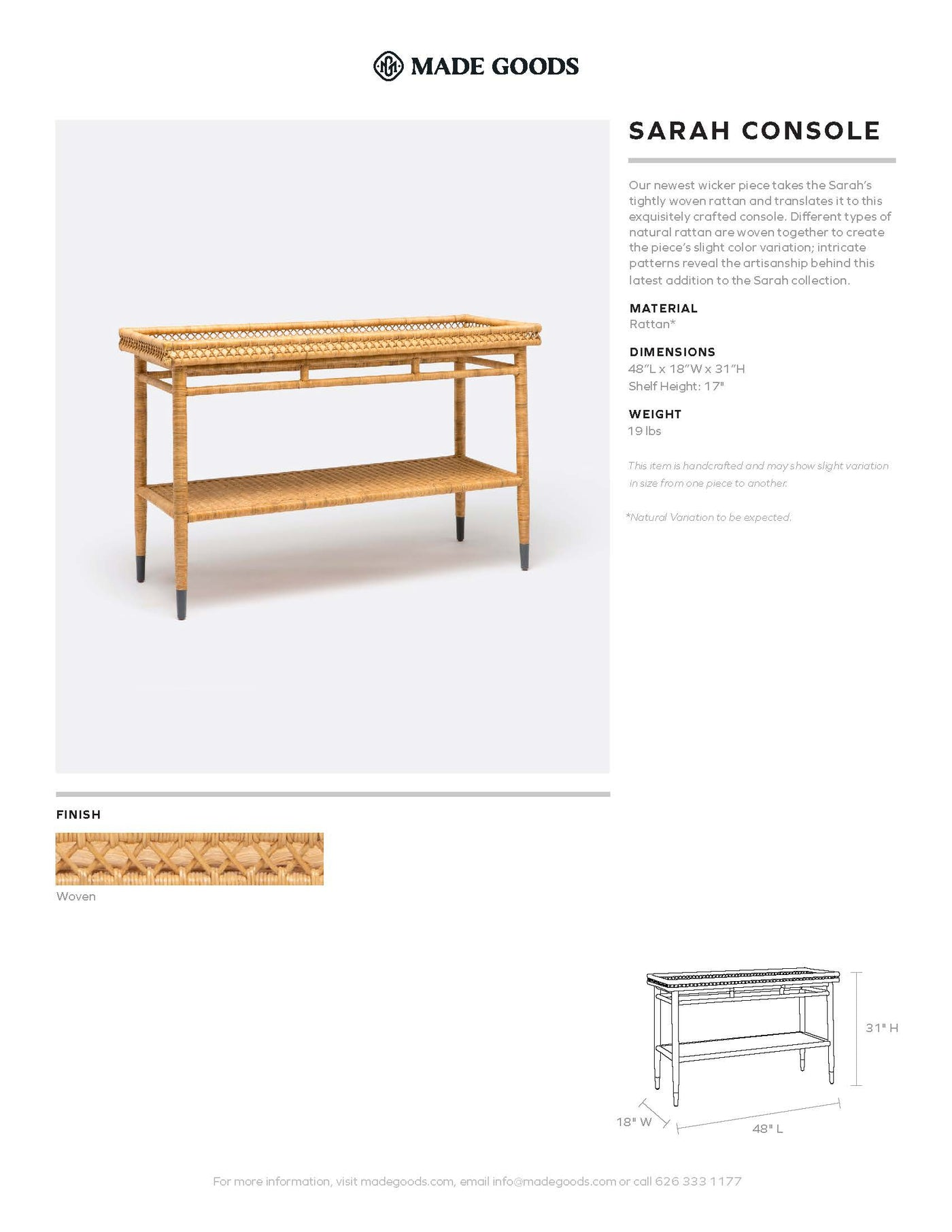 made goods Sarah double console tearsheet