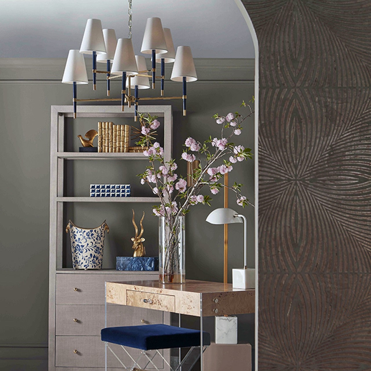 worlds away Silas etagere grey shelving office