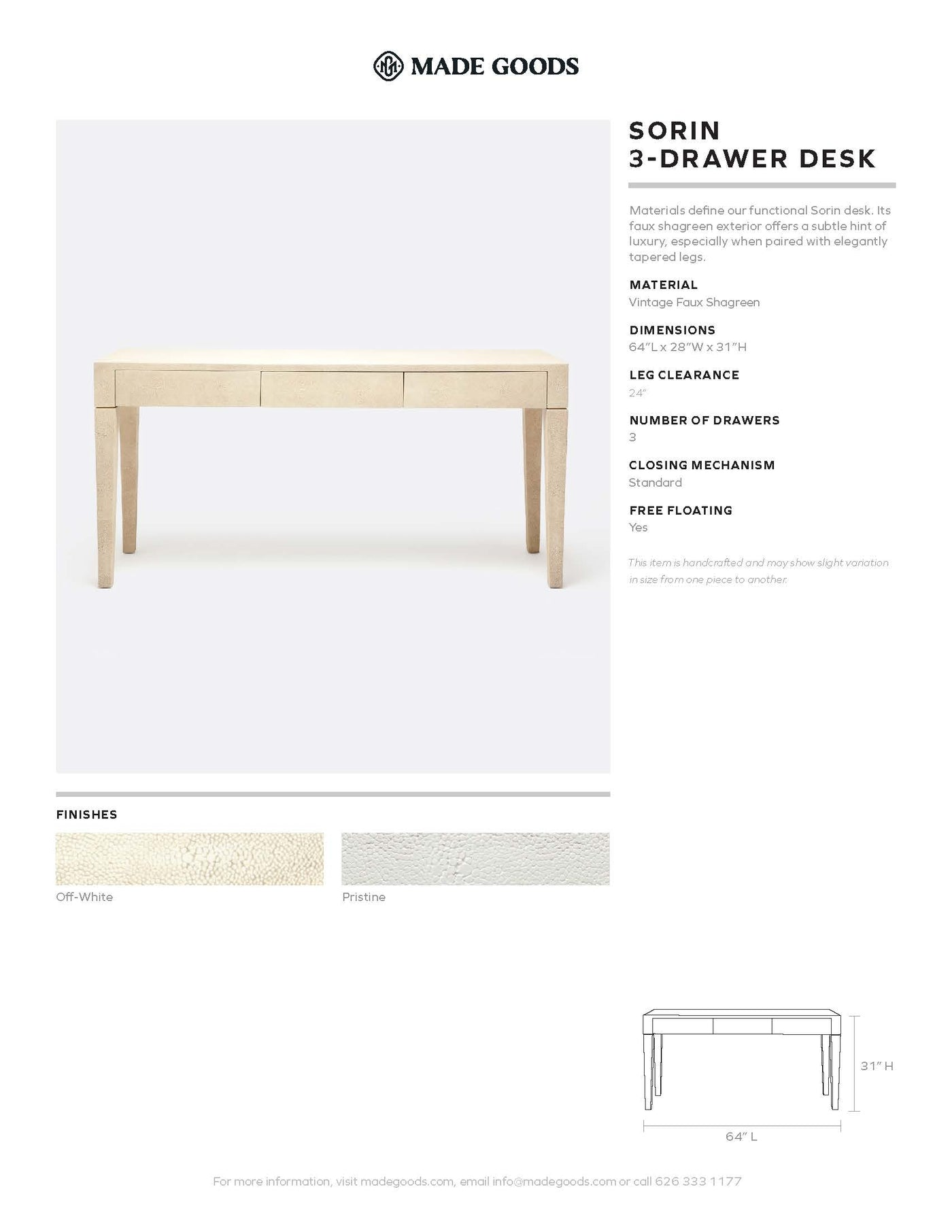 made goods sorin 3 drawer desk tearsheet