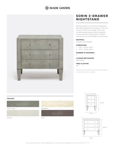 Sorin 3 Drawer Single Nightstand Off White Faux Shagreen