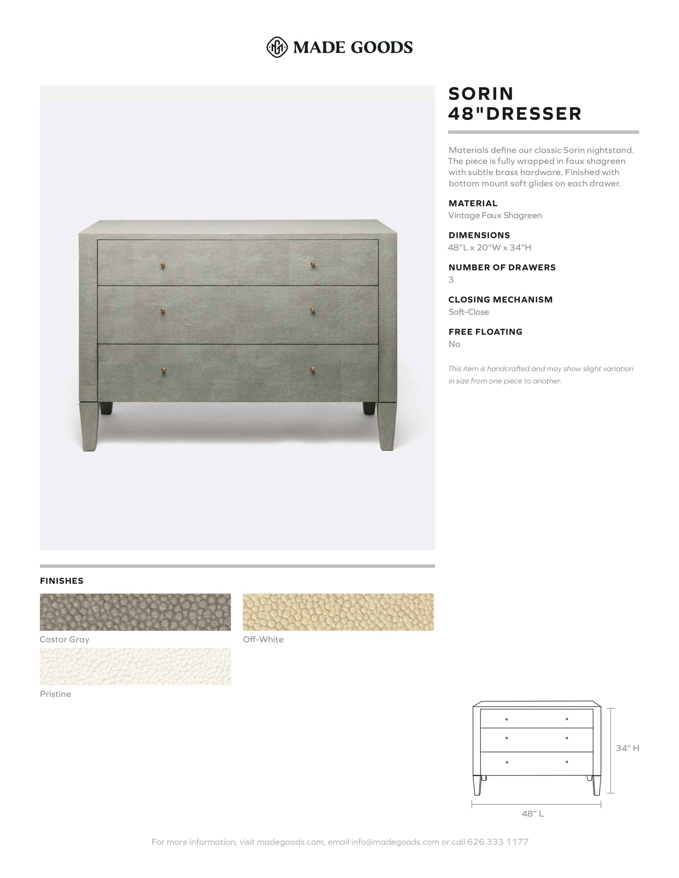 "made goods sorin 48"" dresser tearsheet"