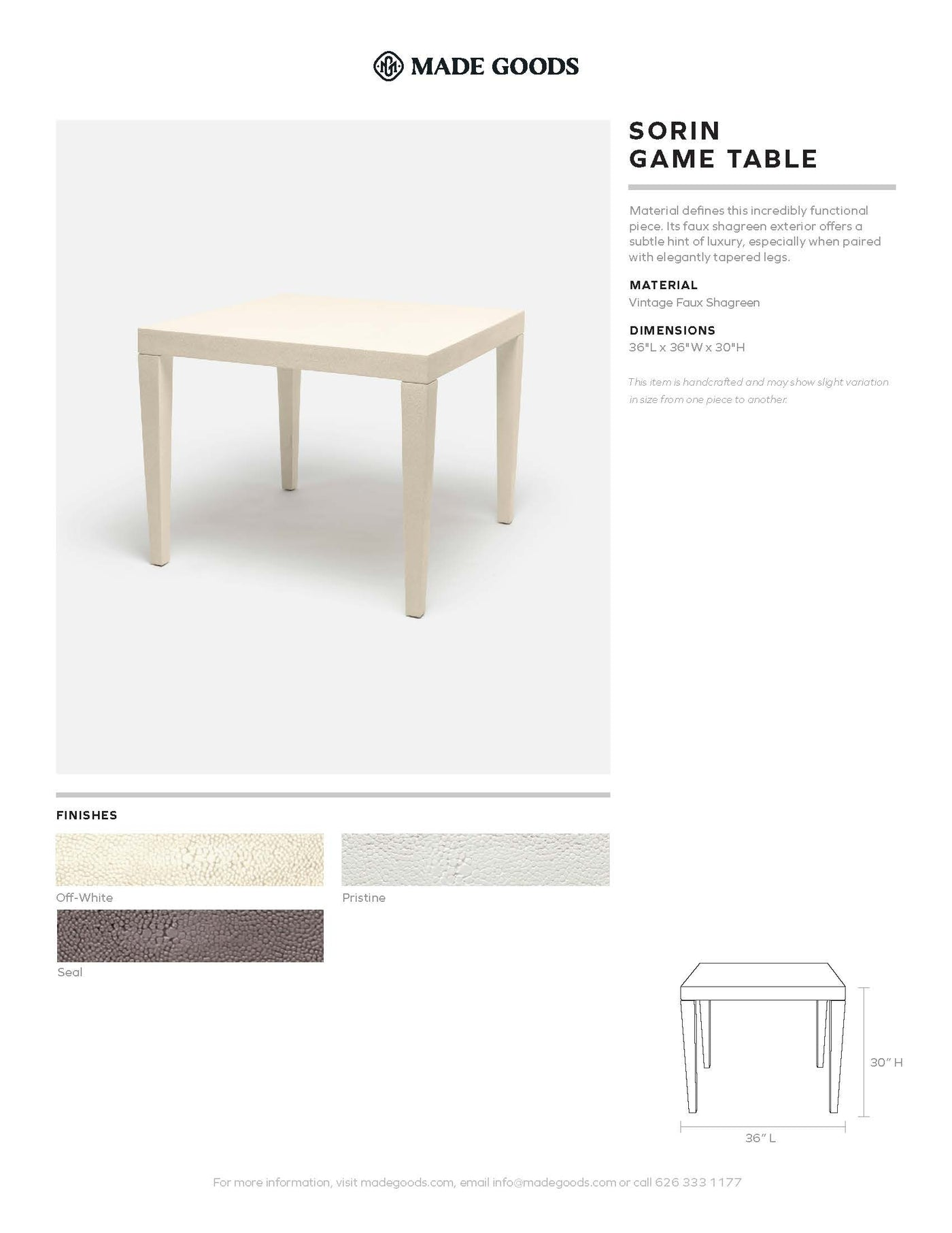 made goods sorin game table tearsheet