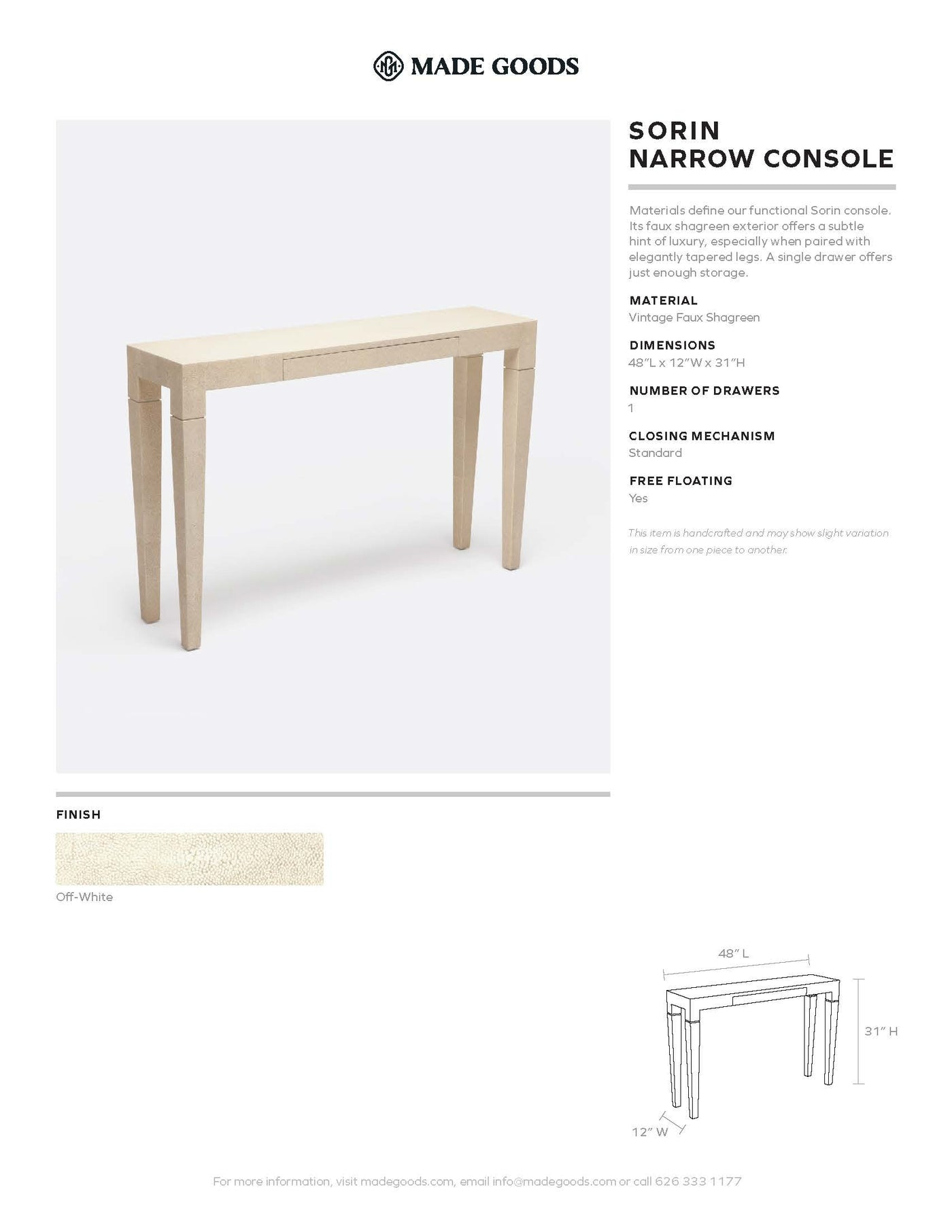 made goods sorin narrow console tearsheet