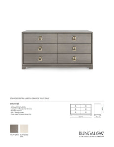 Stanford Extra Large 6 Drawer Chest Taupe Gray