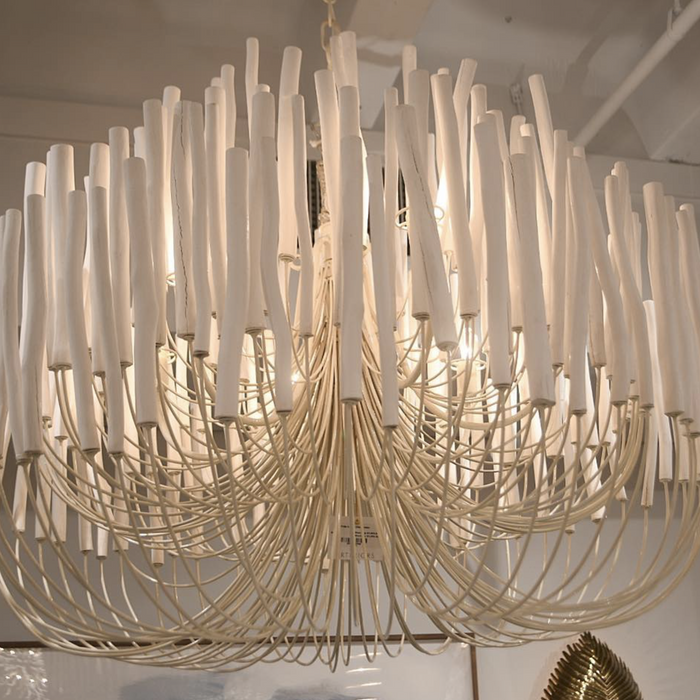 arteriors home tilda large chandelier white wooden showroom