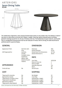 arteriors serene round dining table tearsheet
