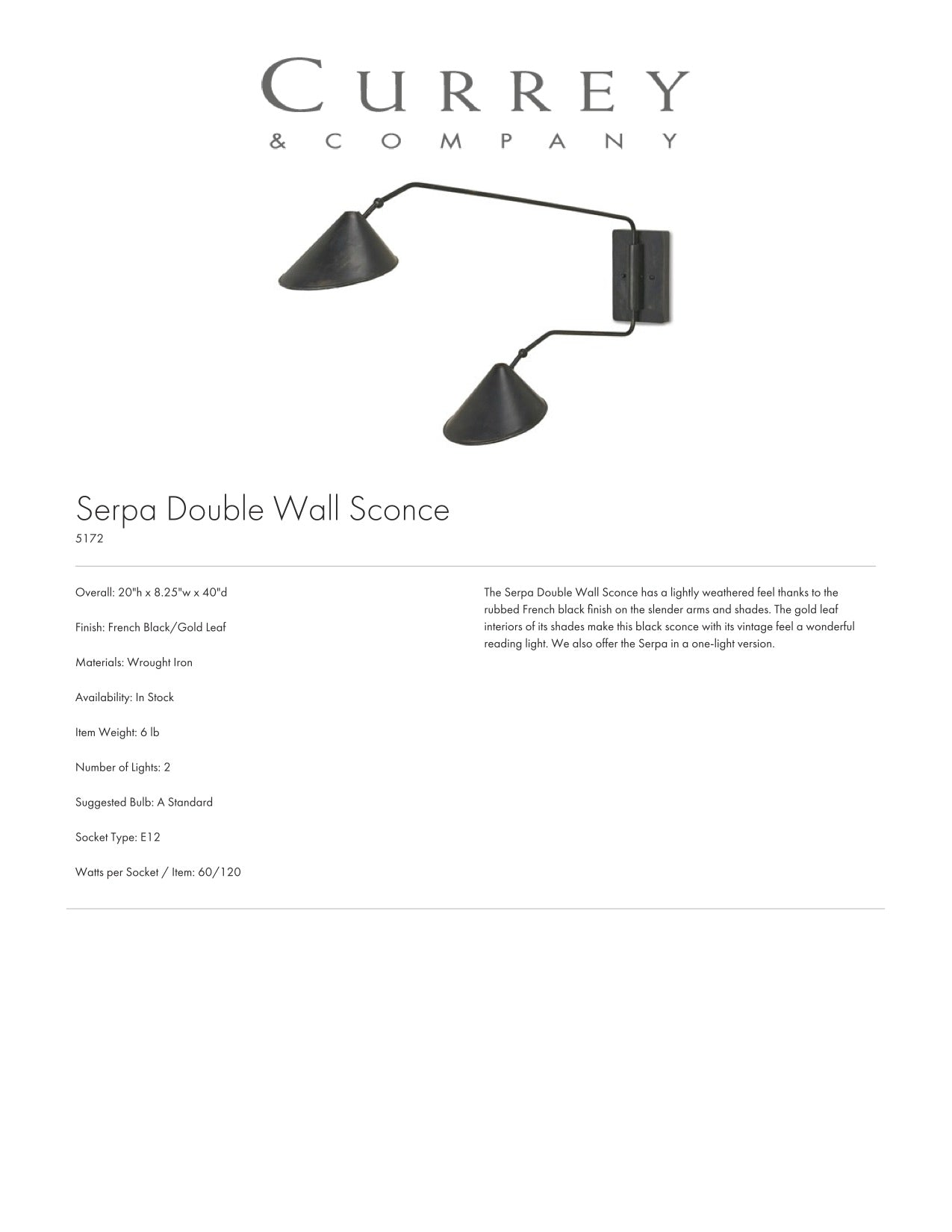 Currey & Company Serpa Double Wall Sconce Tearsheet