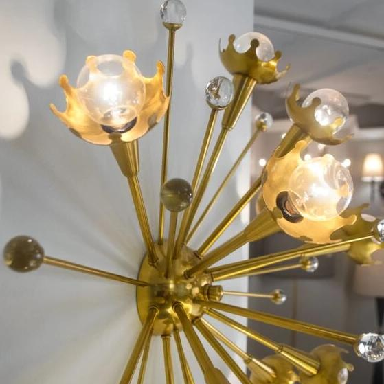 Sputnik Flush Mount Lamp Brass