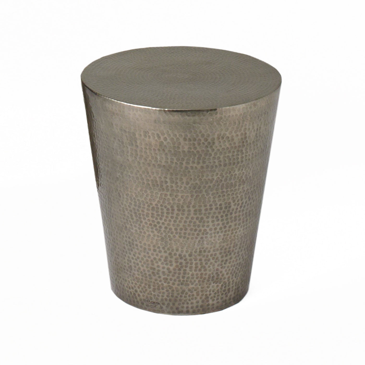 studio a izmir hammered side table antique nickel stool seating