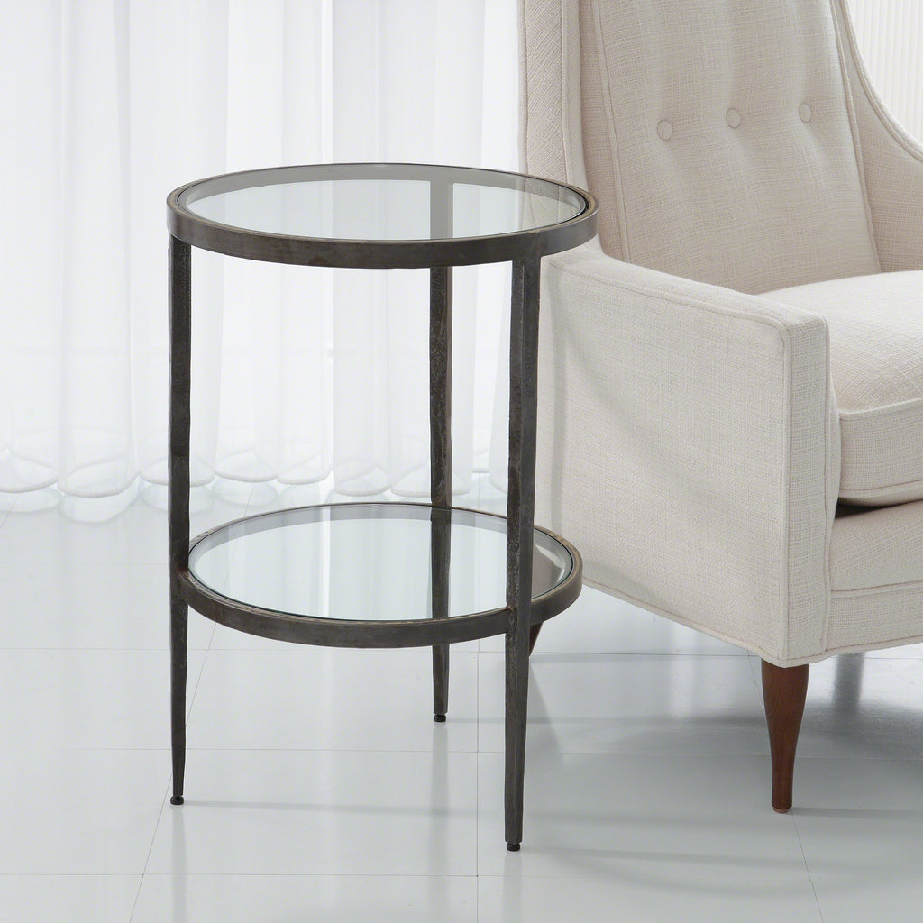 Studio A Laforge Two Tiered Side Table Iron And Braised