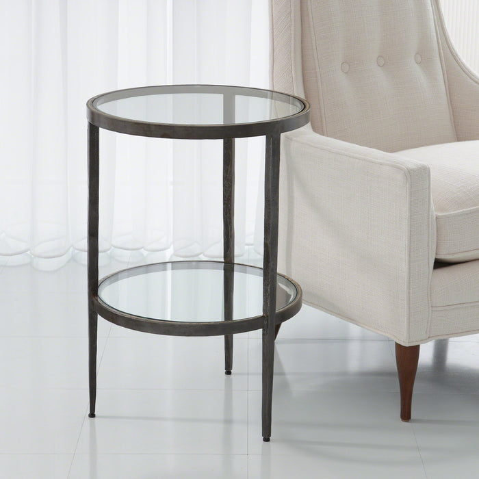 studio a lafarge side table iron and braised brass two tiered occasional table circular