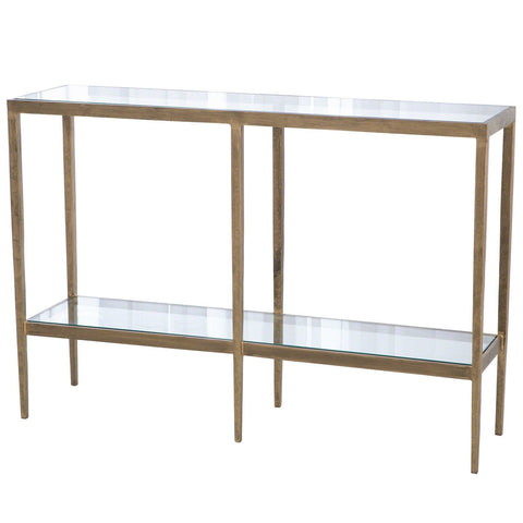 studio a laforge console antique gold iron glass