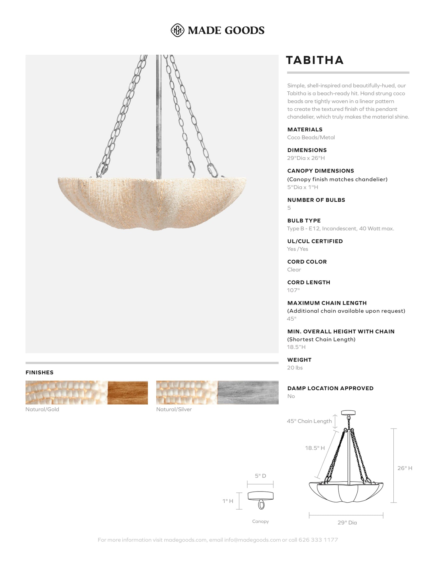 made goods tabitha chandelier gold
