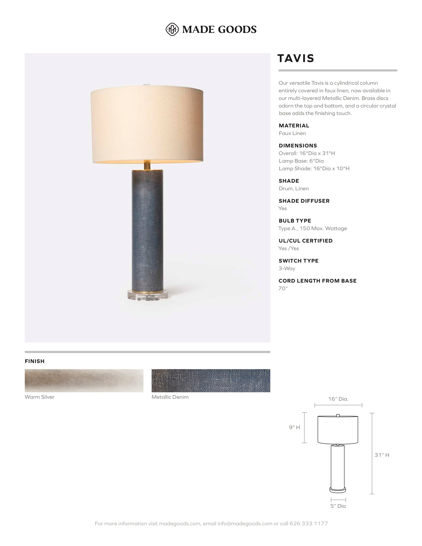 made goods tavis lamp denim tear sheet