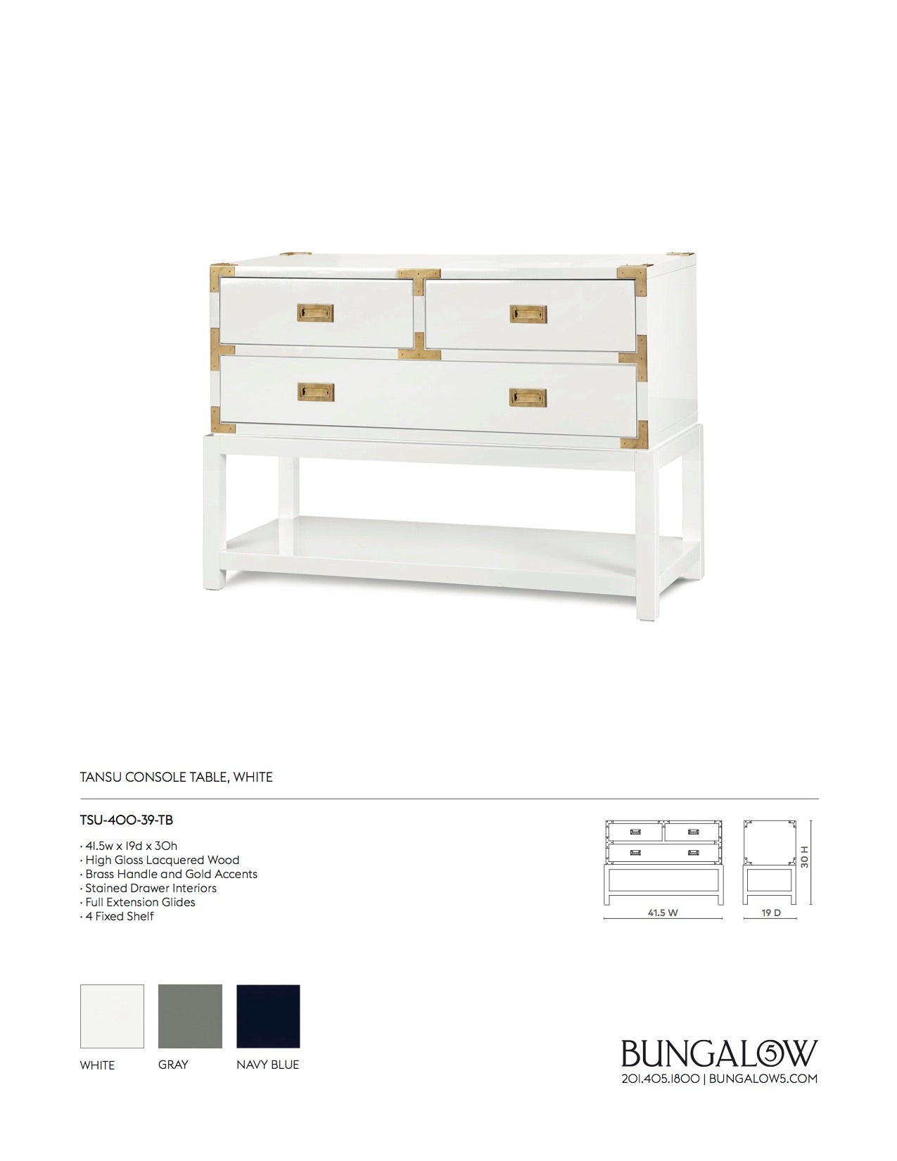 Bungalow 5 Tansu Console Table White Tearsheet