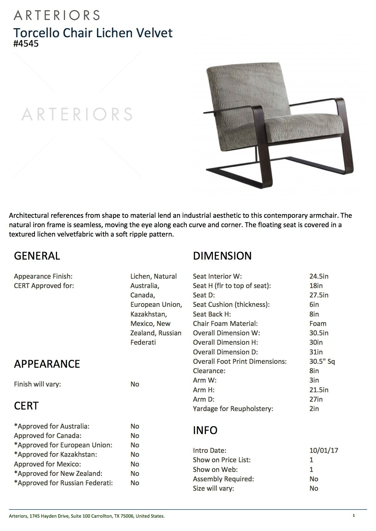 Arteriors Home Torcello Chair Tearsheet