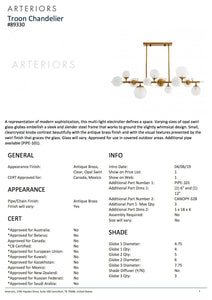 arteriors troon chandelier antique brass tearsheet