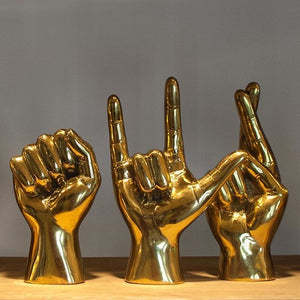 noir brass hand i love you sculpture shelving deocr