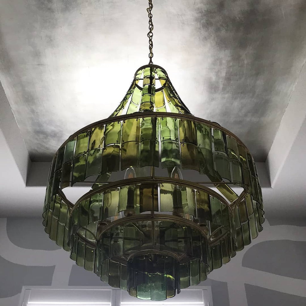 CURREY AND COMPANY VINTNER GREEN CHANDELIER GLASS