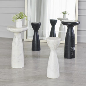 global views marble tower table black and white styled