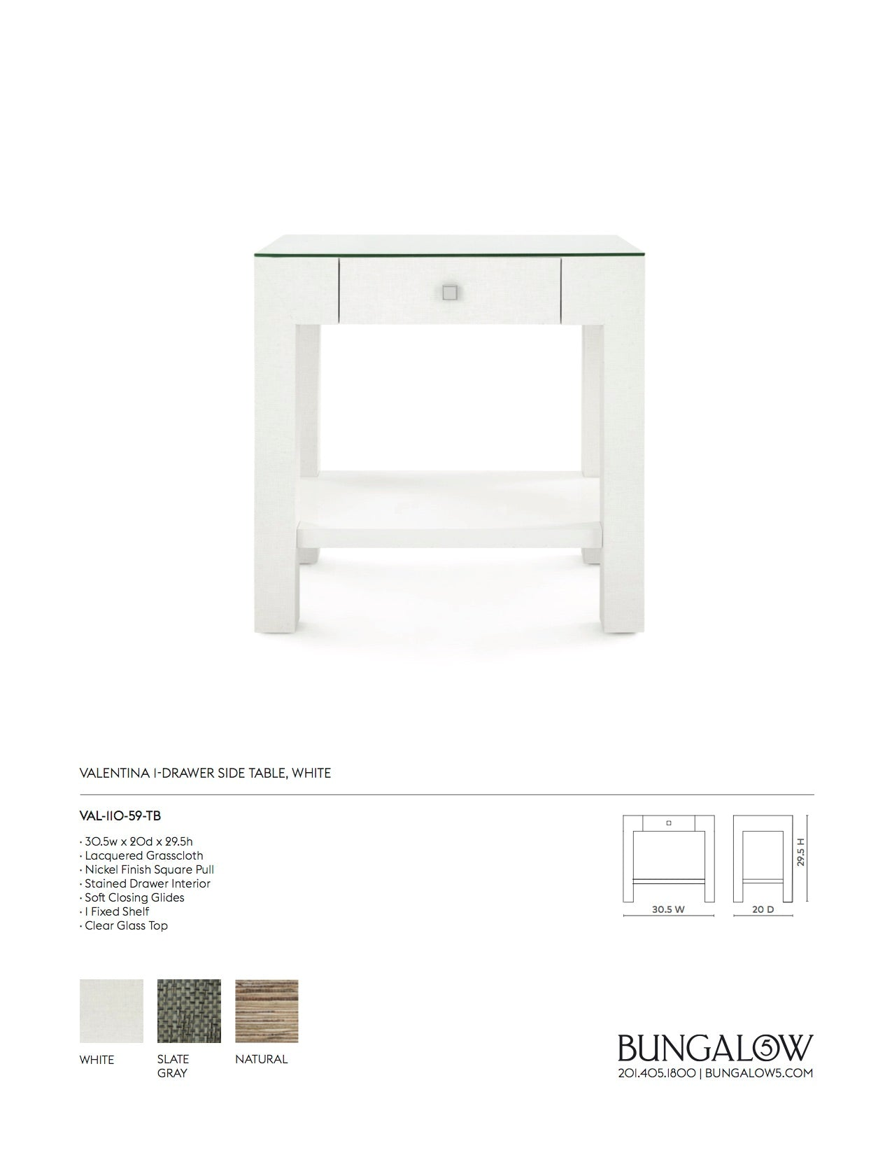 Valentina 1 Drawer Side Table White