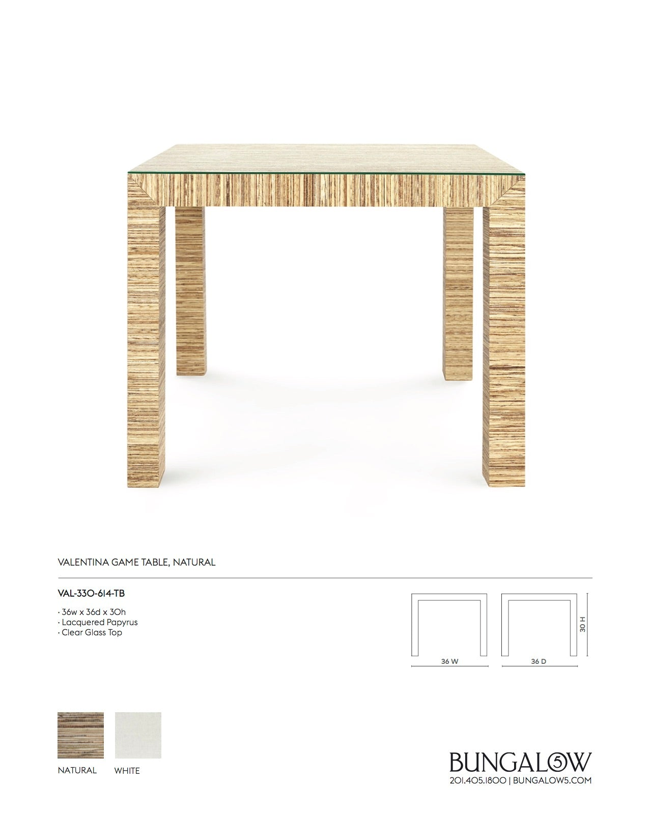 Bungalow 5 Valentina Papyrus Game Table Natural Tearsheet
