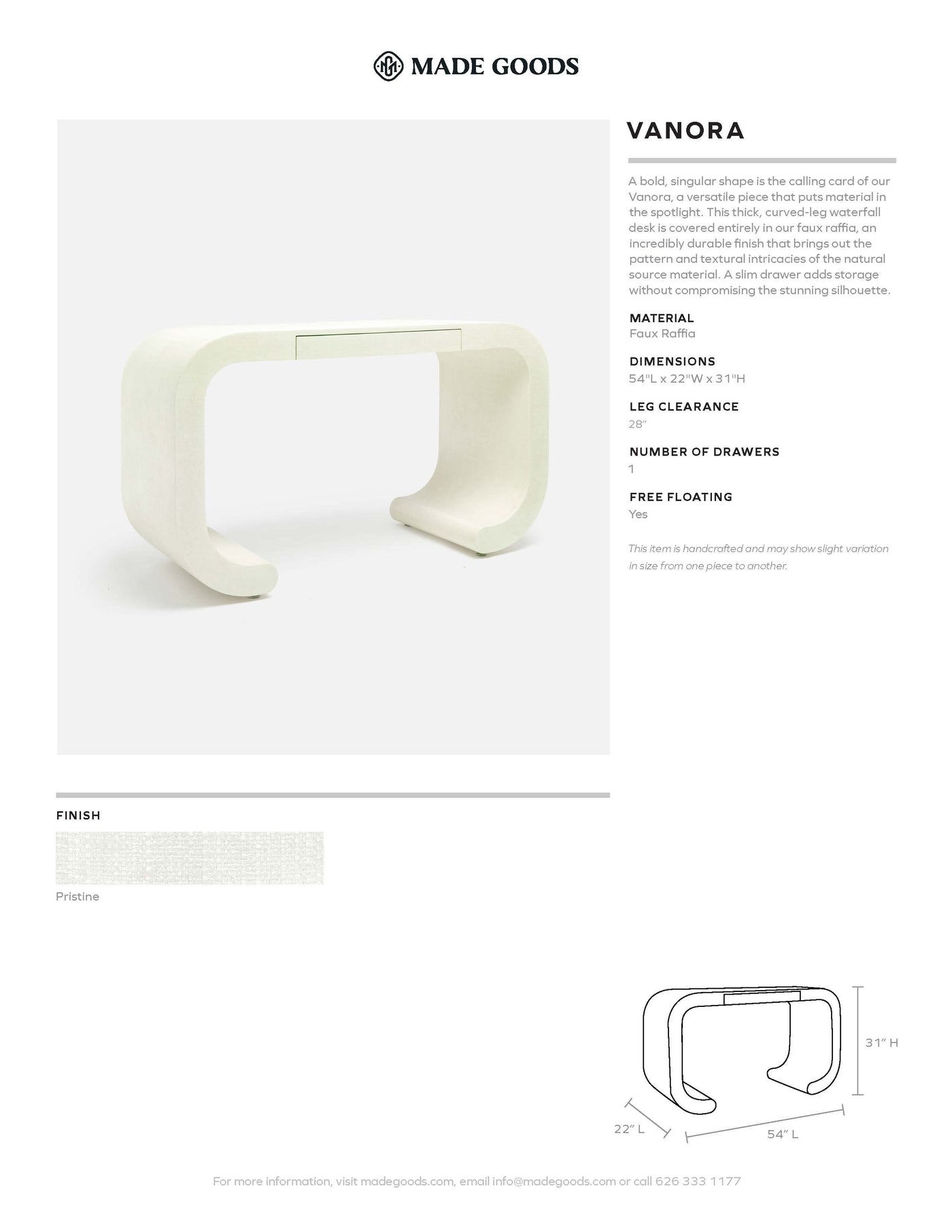made goods vanora desk white tearsheet