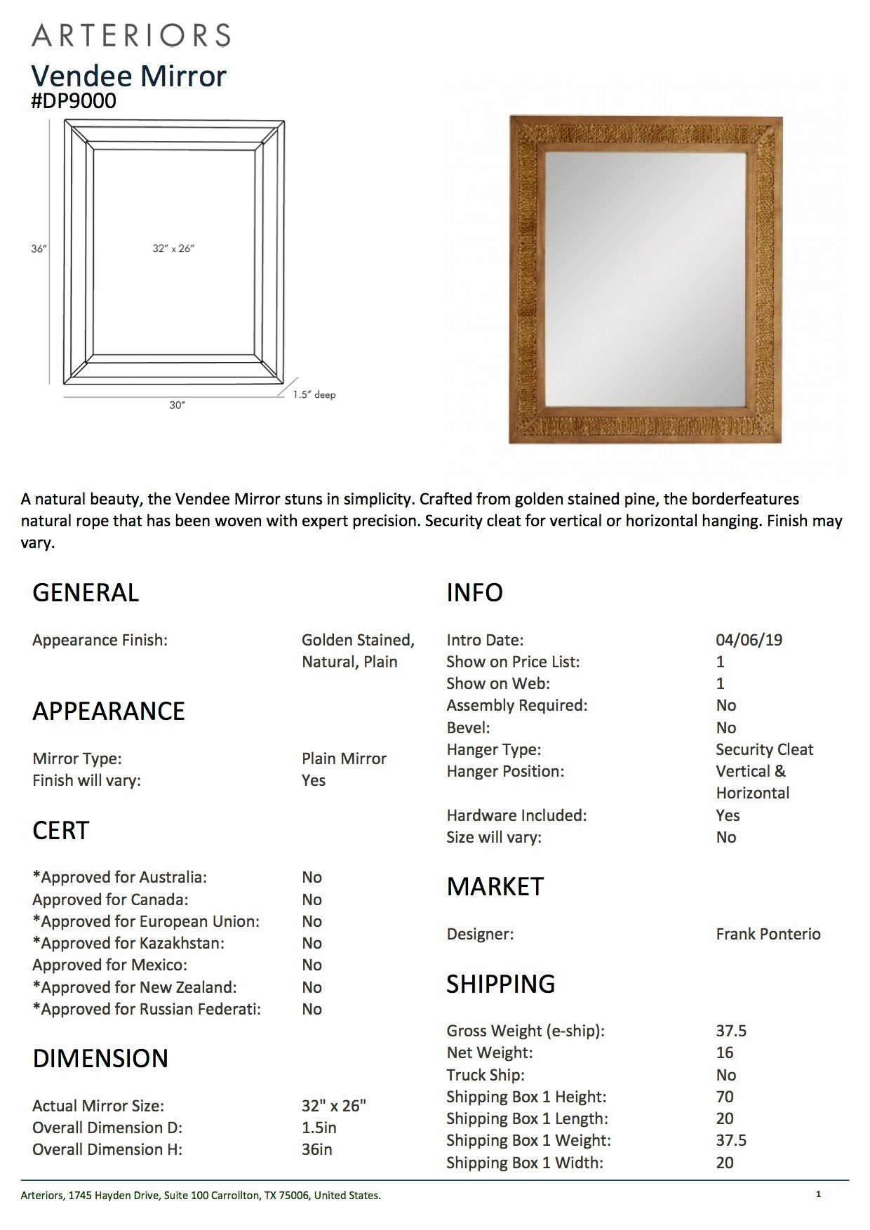 arteriors vendee mirror vertical tearsheet