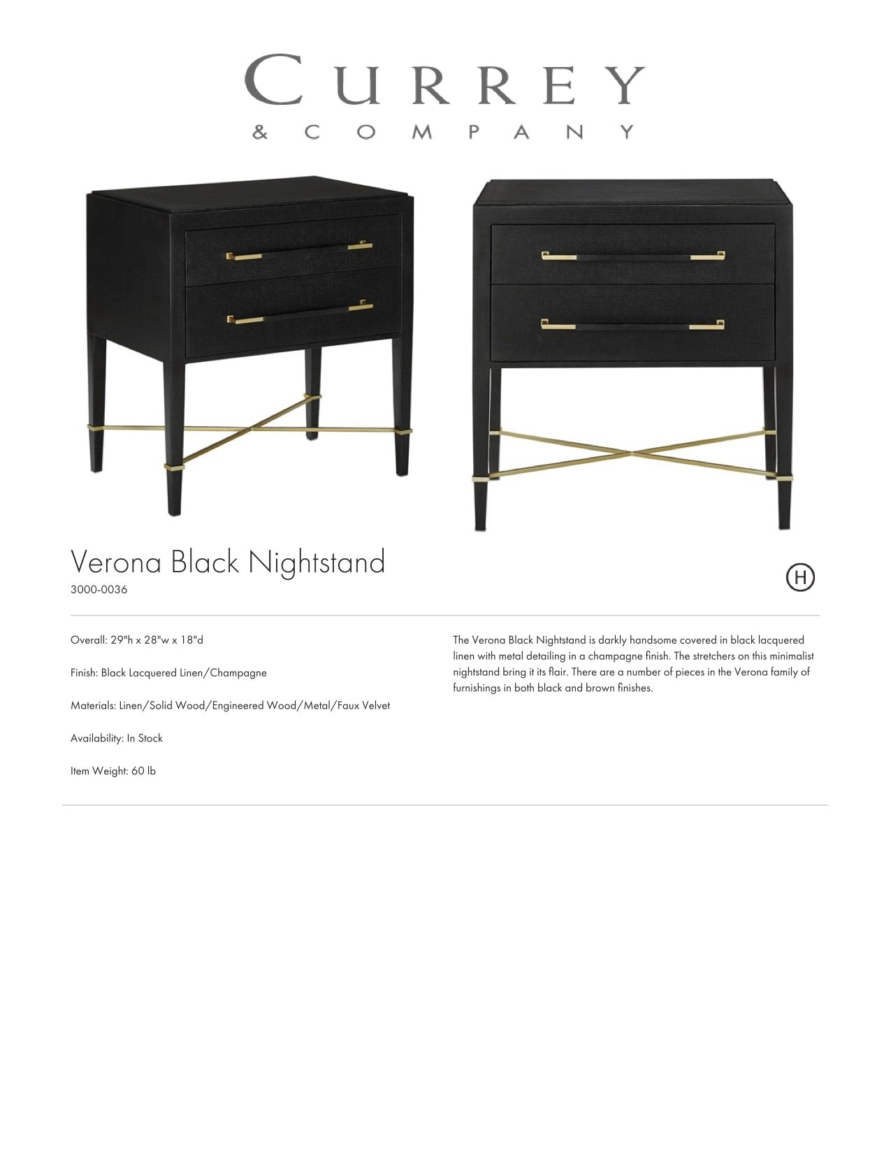 Currey & Company Verona Black Nightstand Tearsheet