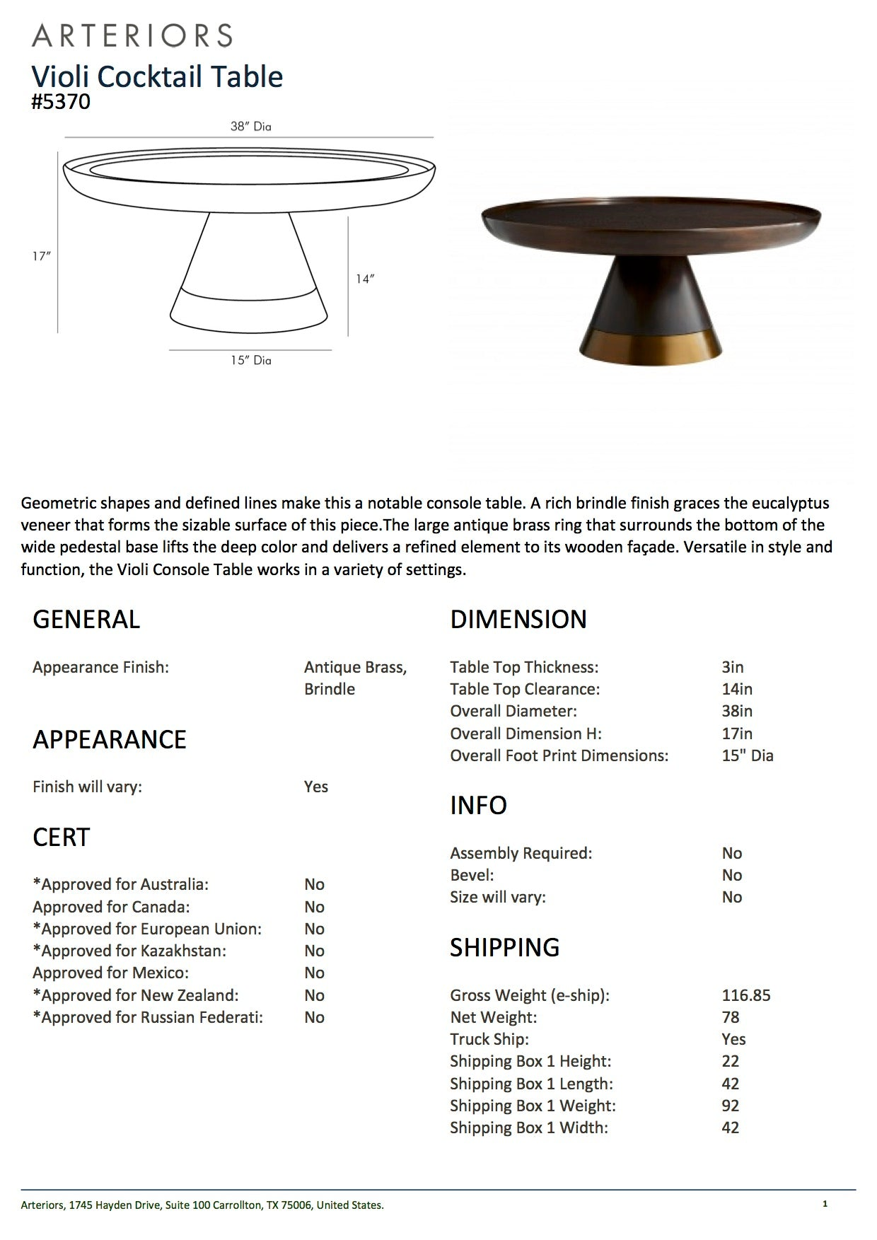 arteriors home violi cocktail table tearsheet