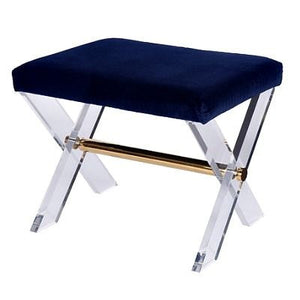 worlds away dixon navy stool brass lucite seating blue