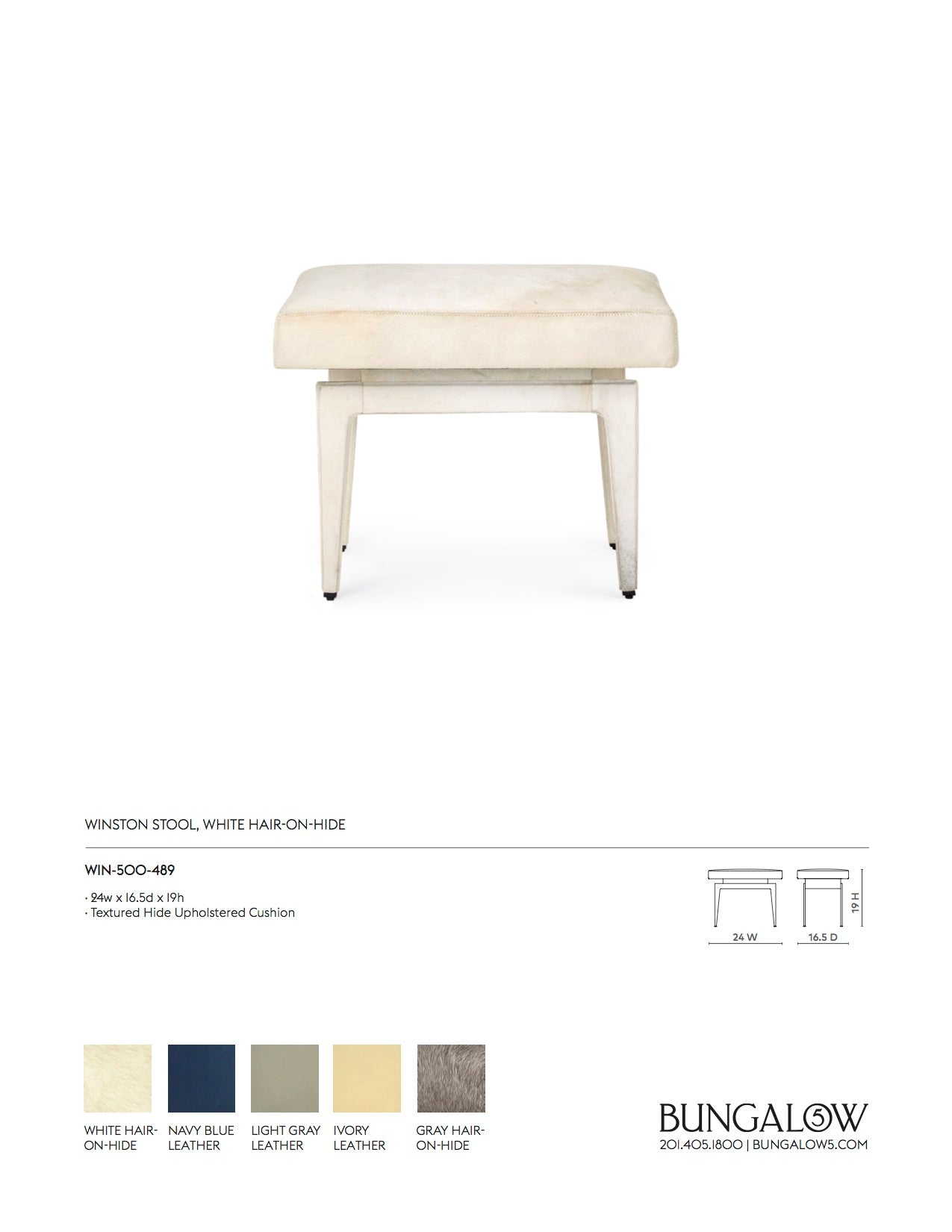 Bungalow 5 Winston Stool White Hide Tearsheet