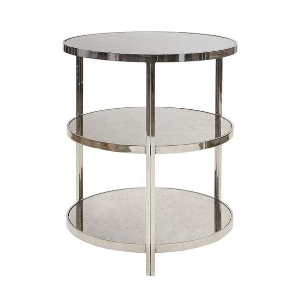 Worlds Away Audrey Three 3 Tier Side Table Nickel Glass Shelves