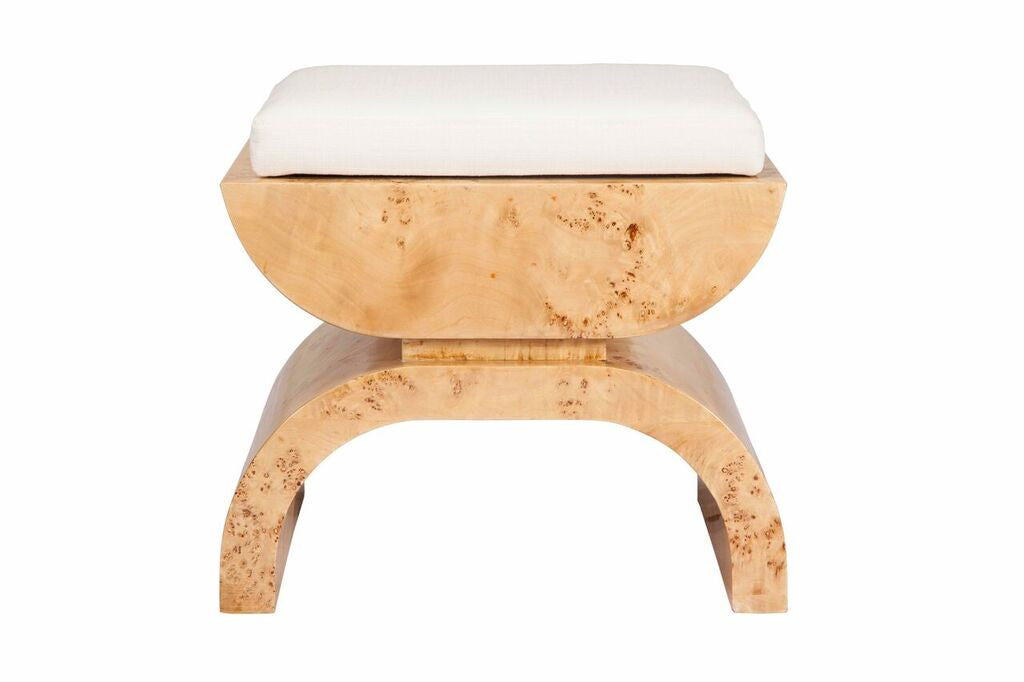 worlds away biggs stool burl wood linen cushion