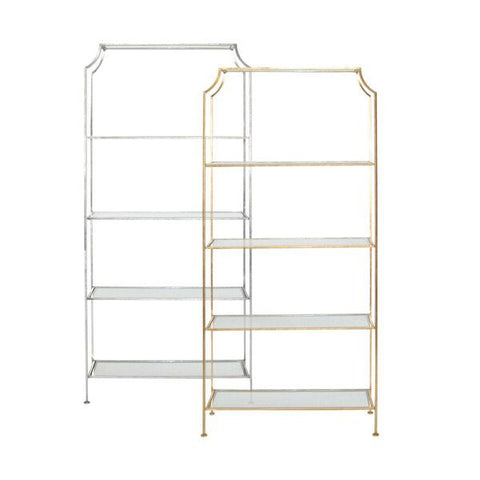 worlds away chloe tall glass etagere gold leaf book shelf WA-Chloe G