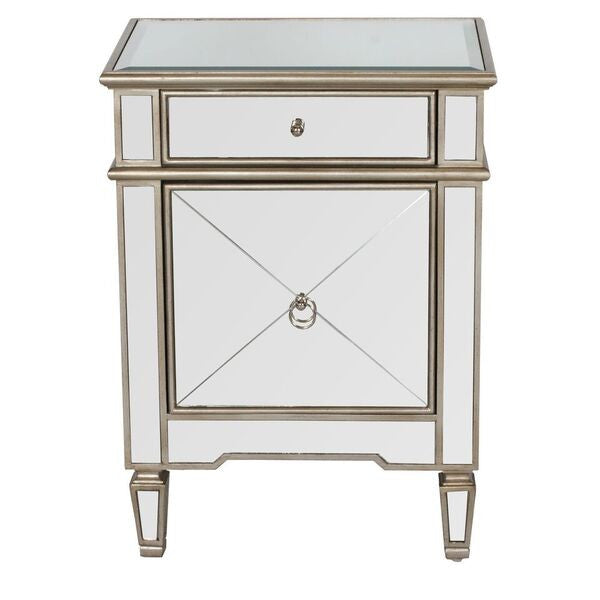 worlds away claudette mirrored silver leaf side table beveled mirror