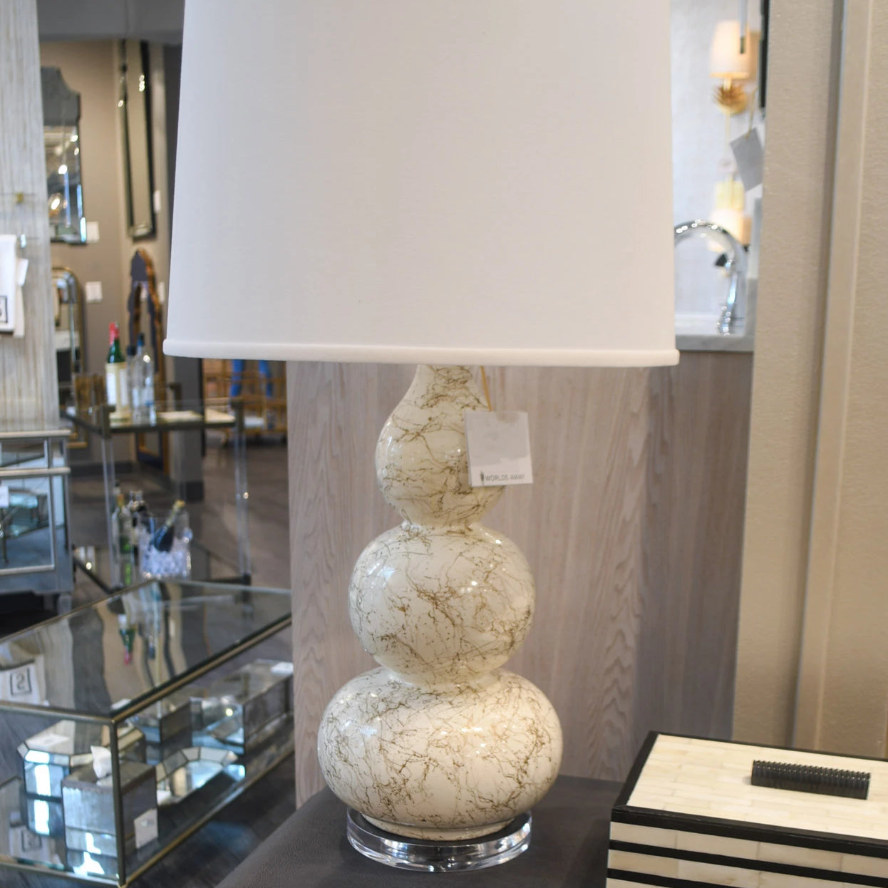 worlds away delaney white table lamp gold leaf marble